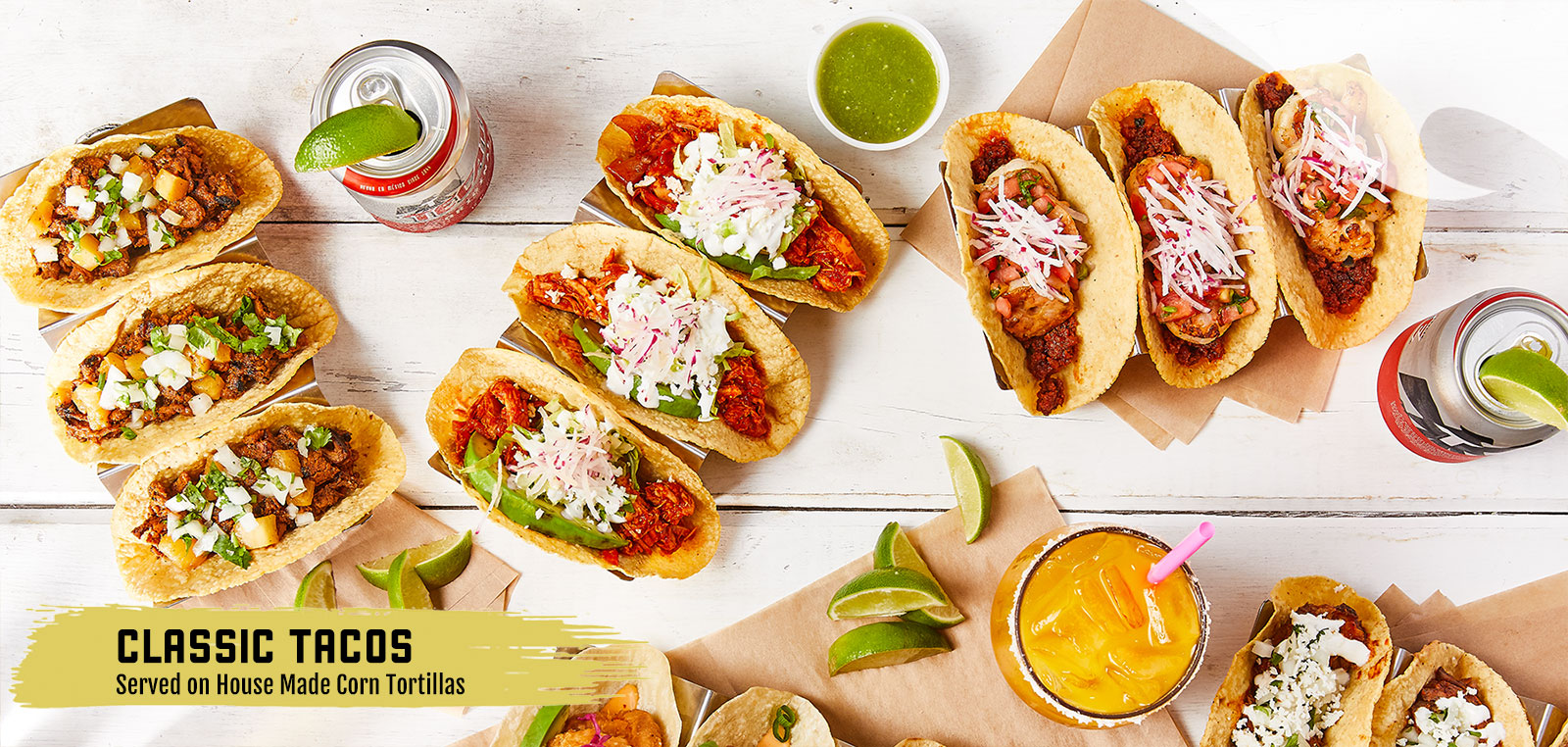 Classic Tacos, served on House Made Corn Tortillas
